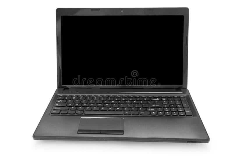 Bärbar dator med den svarta bildskärmen royaltyfri fotografi
