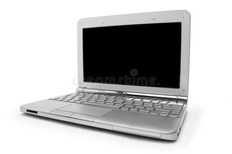 Bärbar dator med den svarta bildskärmen royaltyfri foto