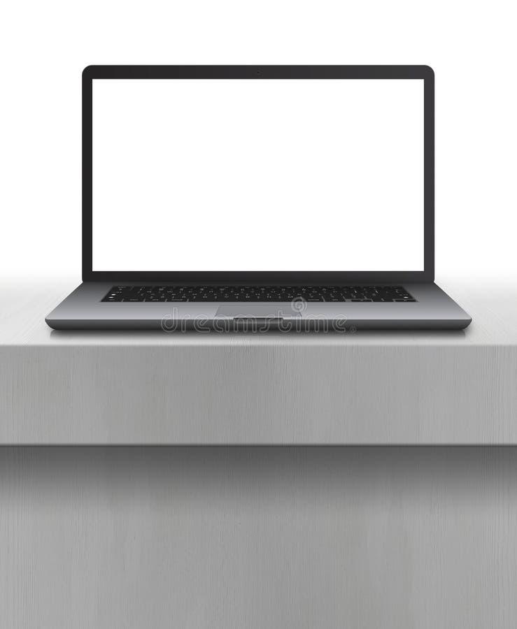 Bärbar dator med den tomma skärmen på skrivbordet royaltyfri illustrationer