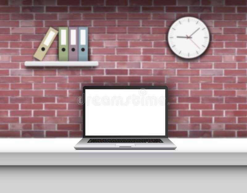 Bärbar dator med den tomma skärmen på skrivbordet i hemmiljö royaltyfri illustrationer