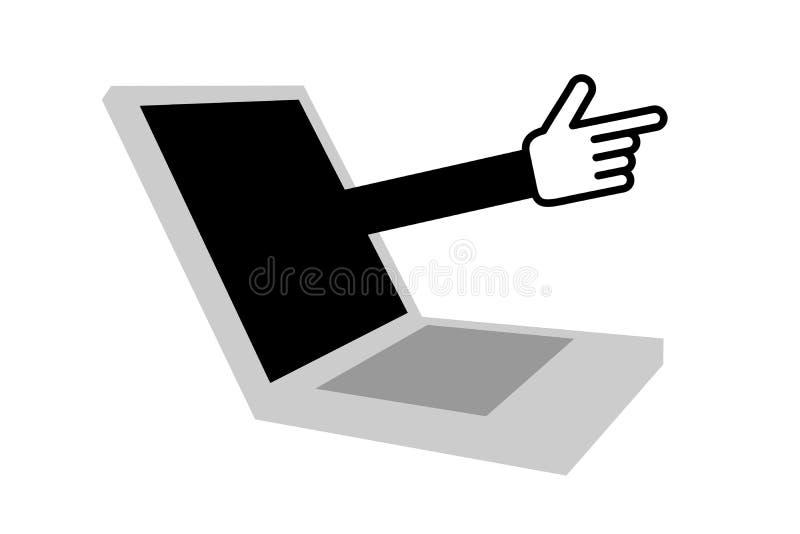 Bärbar dator med den verkliga handen stock illustrationer