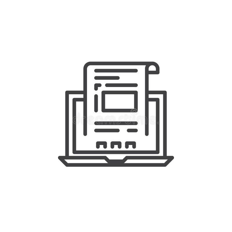 Bärbar dator med dokumentet, fakturalinje symbol, översiktsvektortecken, linjär pictogram som isoleras på vit vektor illustrationer