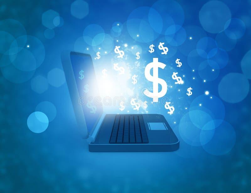Bärbar dator med dollarsymboler stock illustrationer