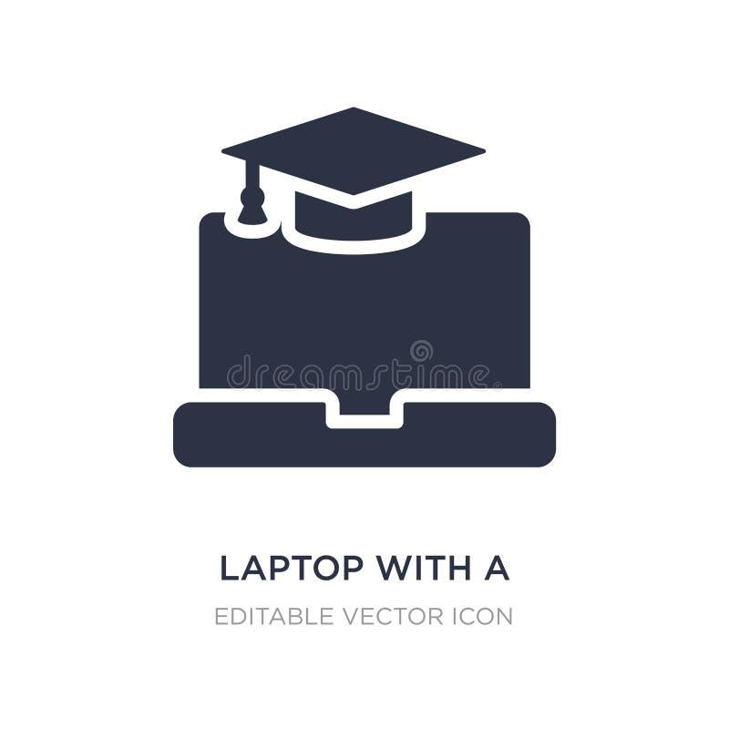 bärbar dator med en avläggande av examenlocksymbol på vit bakgrund Enkel beståndsdelillustration från datorbegrepp stock illustrationer