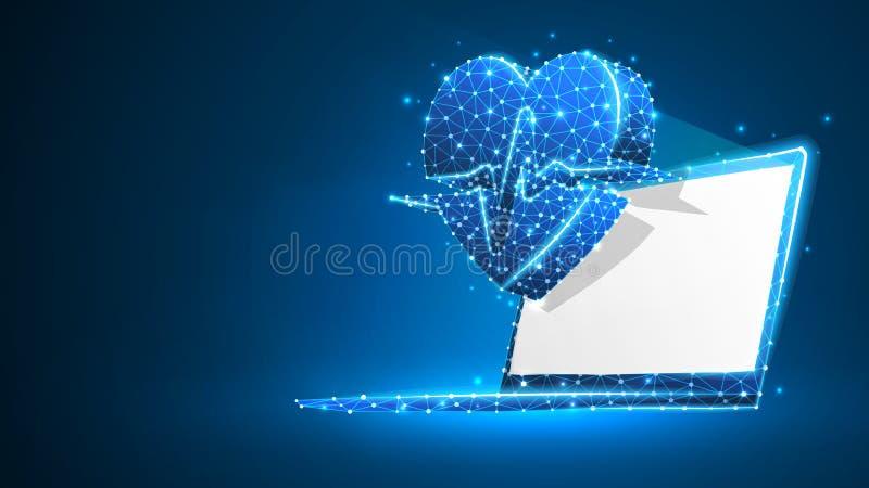 Bärbar dator med hjärtapulslinjen på den vita skärmen Polygonal internetbehandling, datoromsorgbegrepp Abstrakt digitalt royaltyfri illustrationer