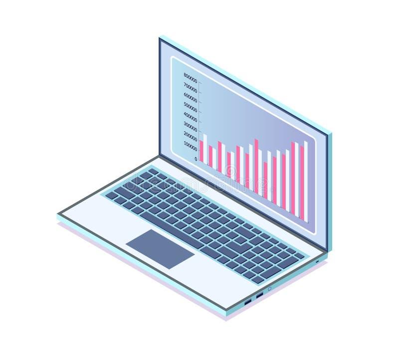 Bärbar dator med information i visuell framställning vektor illustrationer