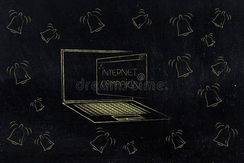 Bärbar dator med internetaktionpopetsom kommer ut ur skärmen su stock illustrationer