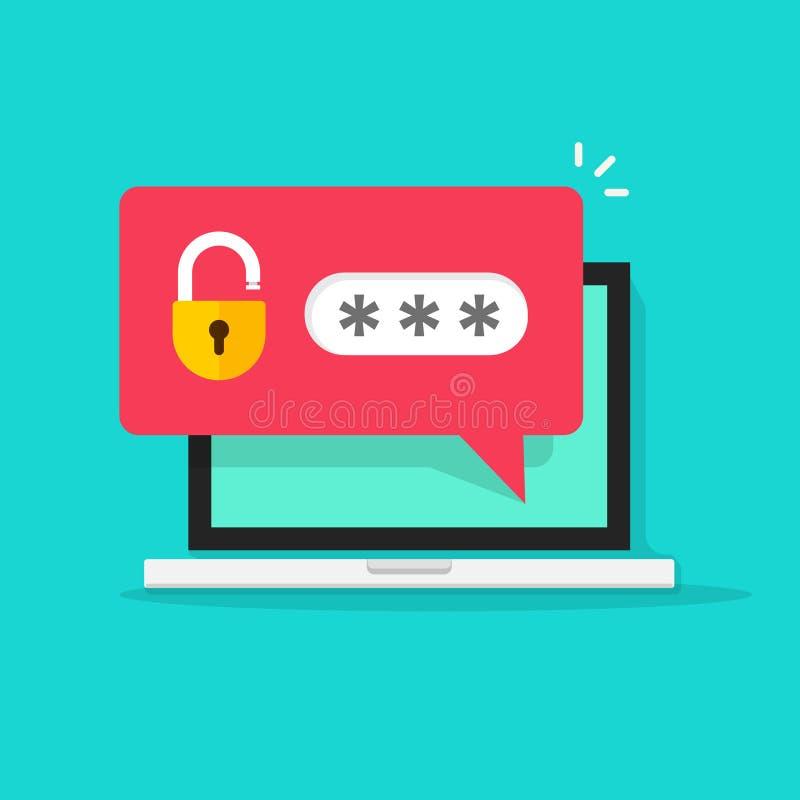 Bärbar dator med lösenordmeddelandet, begrepp av säkerhet, personligt tillträde, skydd royaltyfri illustrationer