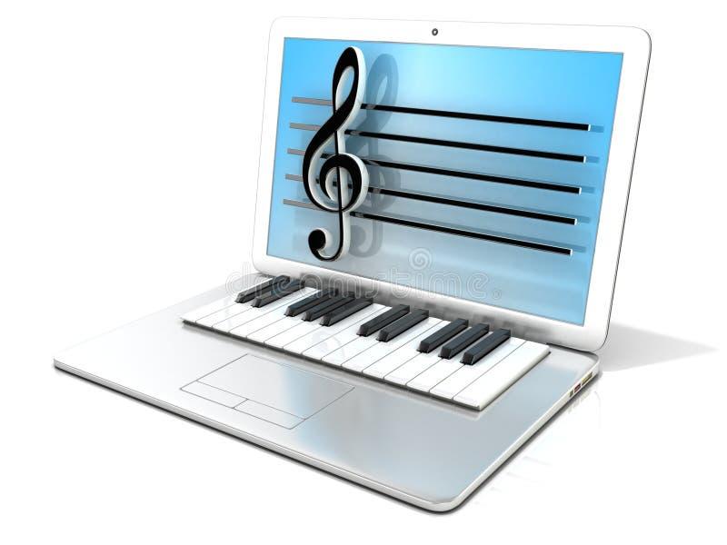 Bärbar dator med pianotangentbordet Begrepp av datoren, digitalt frambragd musik vektor illustrationer