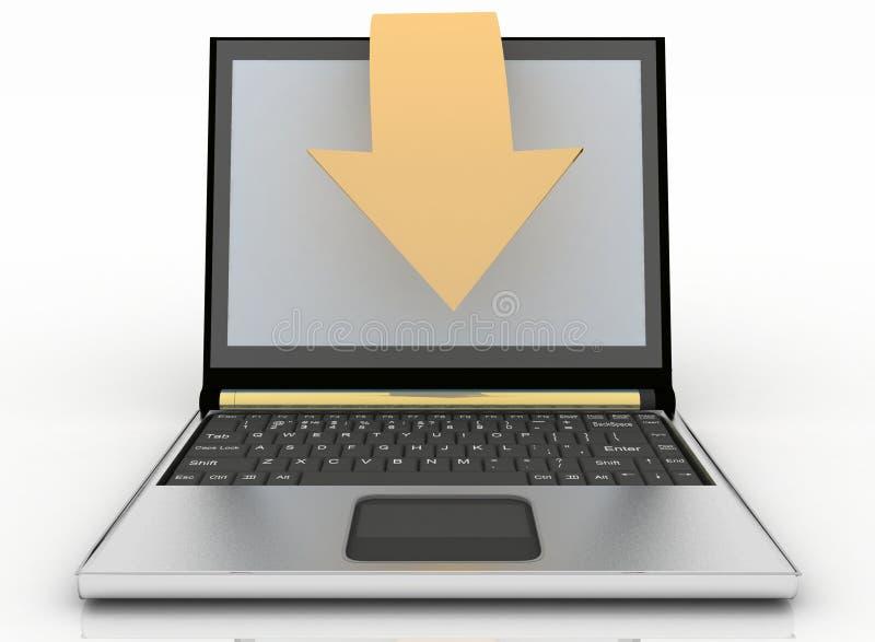 Bärbar dator med pilen på vit bakgrund. Begrepp av nedladdningen. stock illustrationer