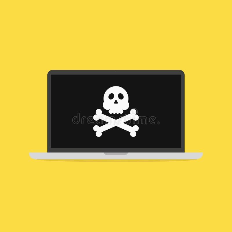 Bärbar dator med skallen på skärmen Hackat datorbegrepp stock illustrationer
