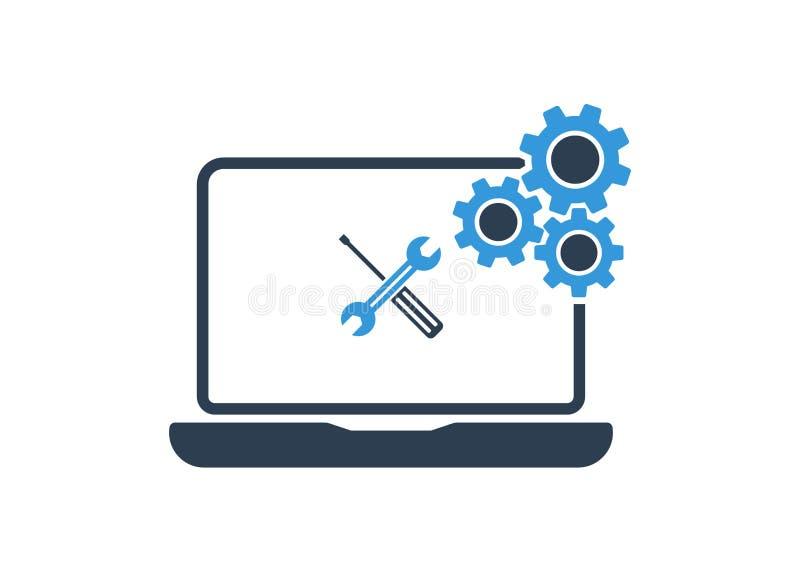 Bärbar dator med skiftnyckeln och skruvmejsel på skärmen Datorreparationsservice, teknisk service Plan design också vektor för co royaltyfri illustrationer