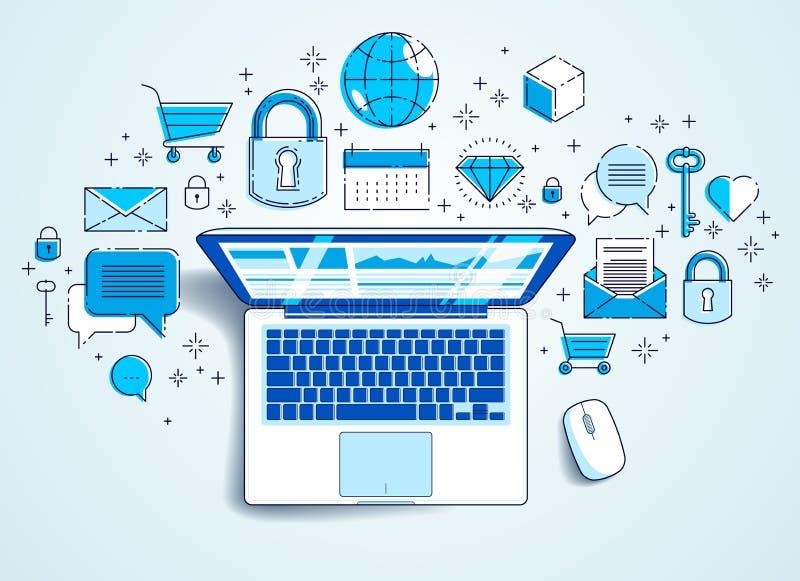 Bärbar dator med statistikinfographicsen och uppsättningen av symboler, online-affär, elektroniska finanser för internet royaltyfri illustrationer