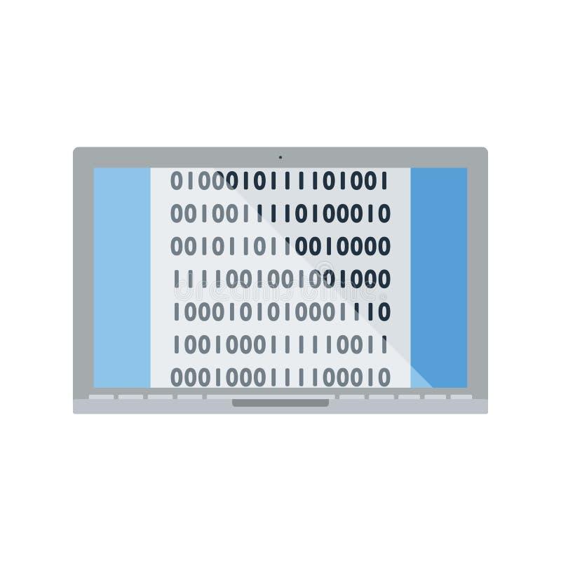 Bärbar dator med symbolen för binär kod stock illustrationer