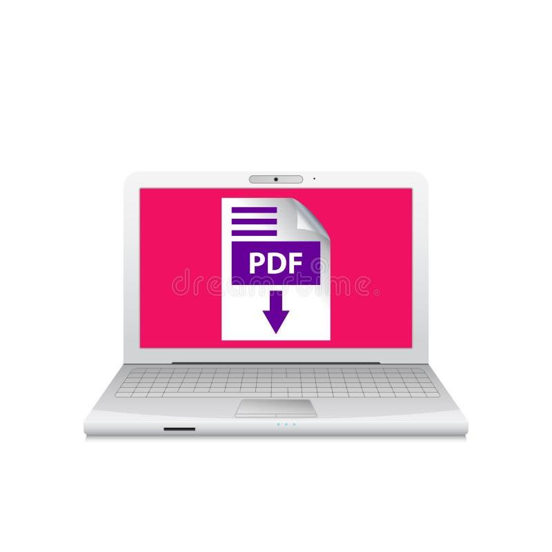 Bärbar dator med symbolen för PDF-mappnedladdning på skärmen Pdf-dokument ner royaltyfri illustrationer