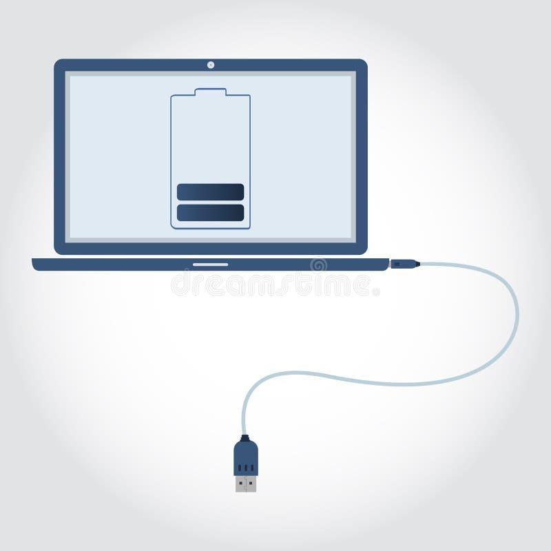Bärbar dator med USB kabel royaltyfri illustrationer