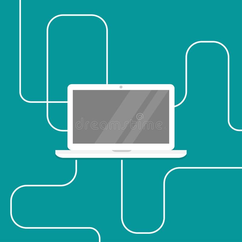 Bärbar dator med usb-sladden, kablar, vit trådkabel Använd datoren stock illustrationer