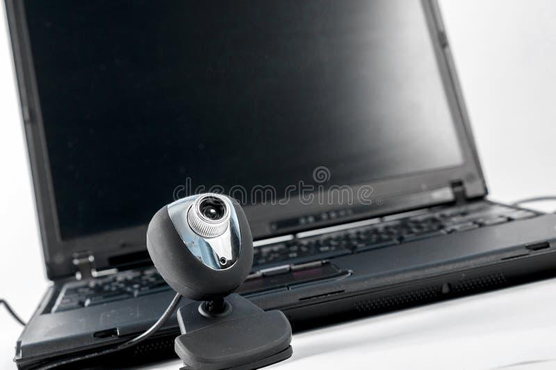 Bärbar dator med webcamen arkivfoto