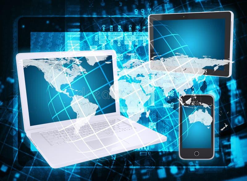 Bärbar dator, minnestavla, smartphone, microcircuit och översikt royaltyfri illustrationer