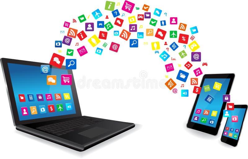 Bärbar dator-, minnestavlaPC och smart telefon med Apps royaltyfri illustrationer
