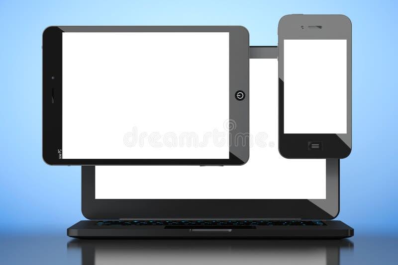 Bärbar dator-, mobiltelefon- och minnestavlaPC framförande 3d royaltyfri foto