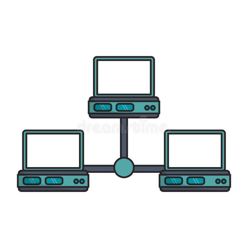 bärbar dator- och databasdesign stock illustrationer