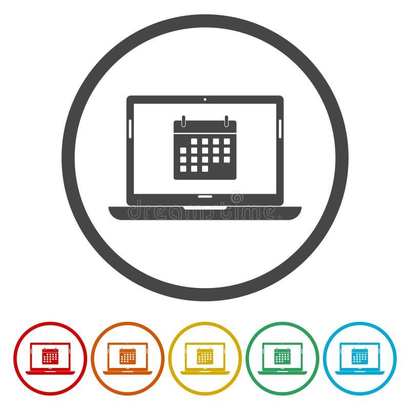 Bärbar dator- och kalendersymbol royaltyfri illustrationer