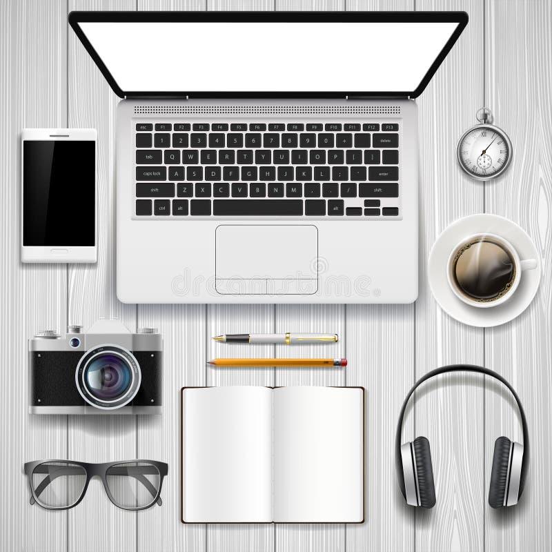 Bärbar dator och kontorsbrevpapper på tabellen royaltyfri illustrationer