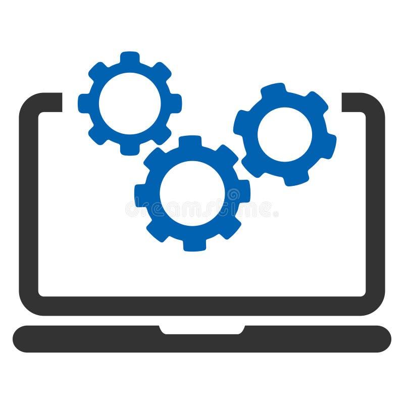 Bärbar dator- och kugghjulvektorsymbol stock illustrationer