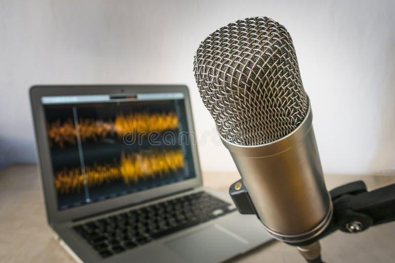 Bärbar dator och mikrofon royaltyfri bild