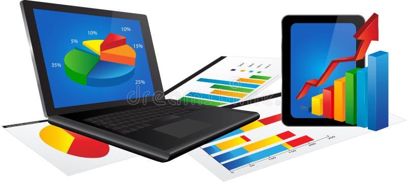 Bärbar dator och minnestavla med statistikdiagrammet stock illustrationer