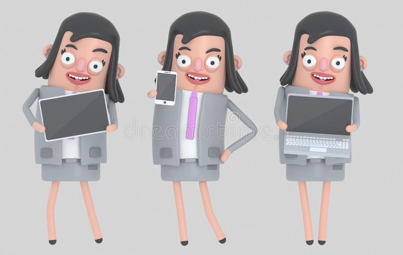 Bärbar dator, smarthone och minnestavla för innehav för affärskvinna isolerat stock illustrationer