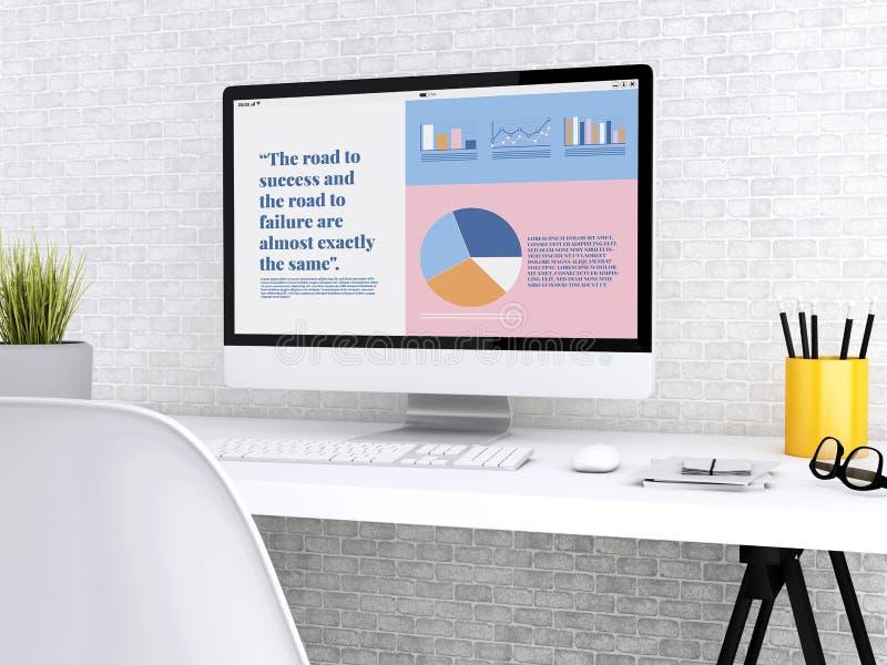 bärbar dator som 3d visar grafisk information om företagstillväxt royaltyfri illustrationer