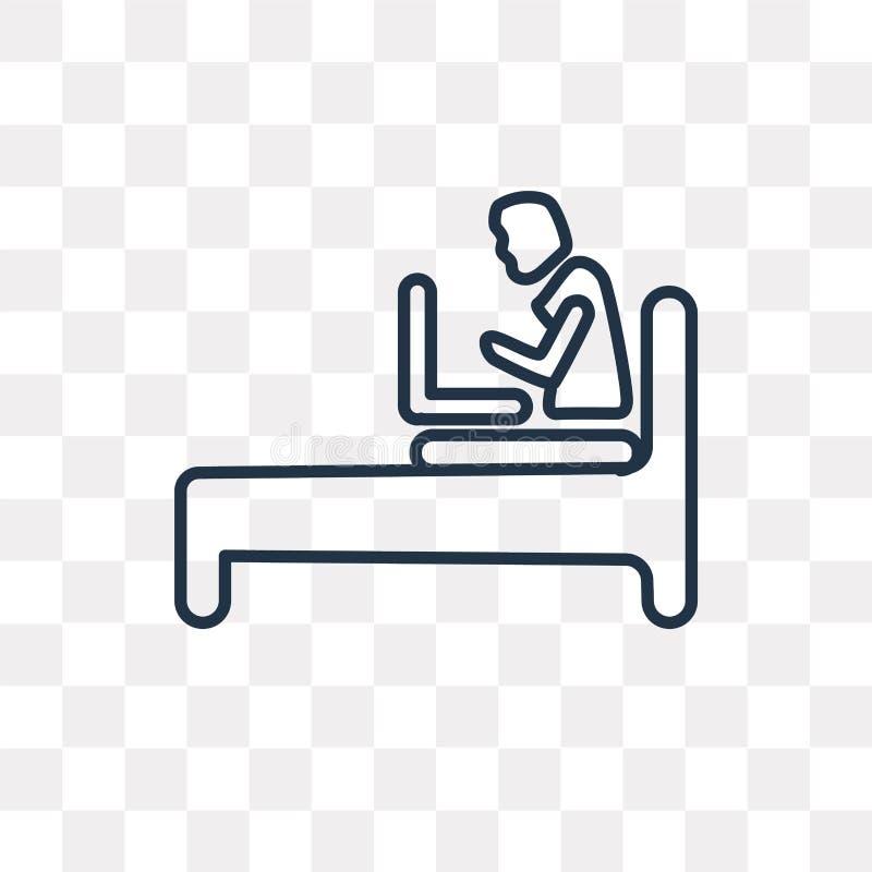 Bärbar dator som pratar på sängvektorsymbolen som isoleras på genomskinlig backg stock illustrationer
