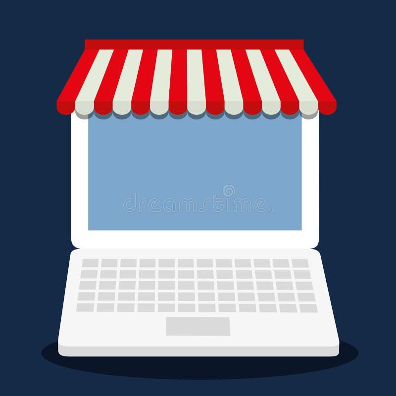 Bärbar dator som shoppar online-lagermarknadssymbolen som stylized swirlvektorn för bakgrund det dekorativa diagrammet vågr stock illustrationer