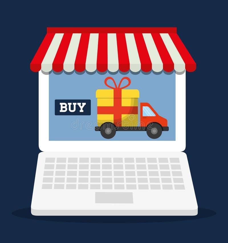 Bärbar dator som shoppar online-lagermarknadssymbolen som stylized swirlvektorn för bakgrund det dekorativa diagrammet vågr vektor illustrationer