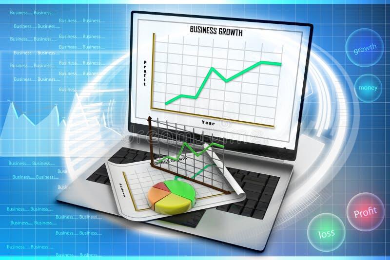 Bärbar dator som visar ett räkneark och ett papper med statistikdiagram royaltyfri illustrationer