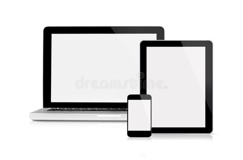 Bärbar dator, tablet och mobiltelefon royaltyfri bild