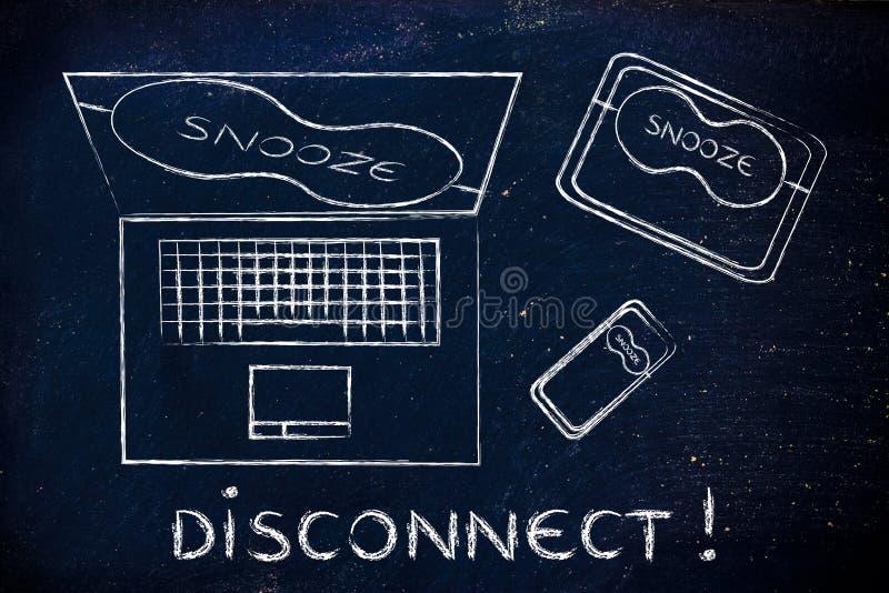 Bärbar dator, telefon & minnestavla med ögonmaskeringen: disconnect! royaltyfria bilder