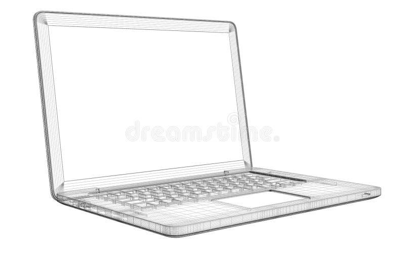 Bärbar dator. Trådram vektor illustrationer
