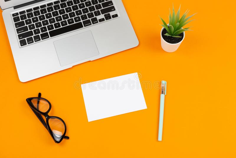 Bärbar dator, växt, notepad och exponeringsglas royaltyfria foton
