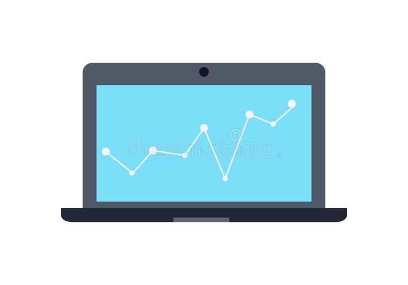 Bärbar datorbildskärm Affärsgrafen och kartlägger vektor illustrationer