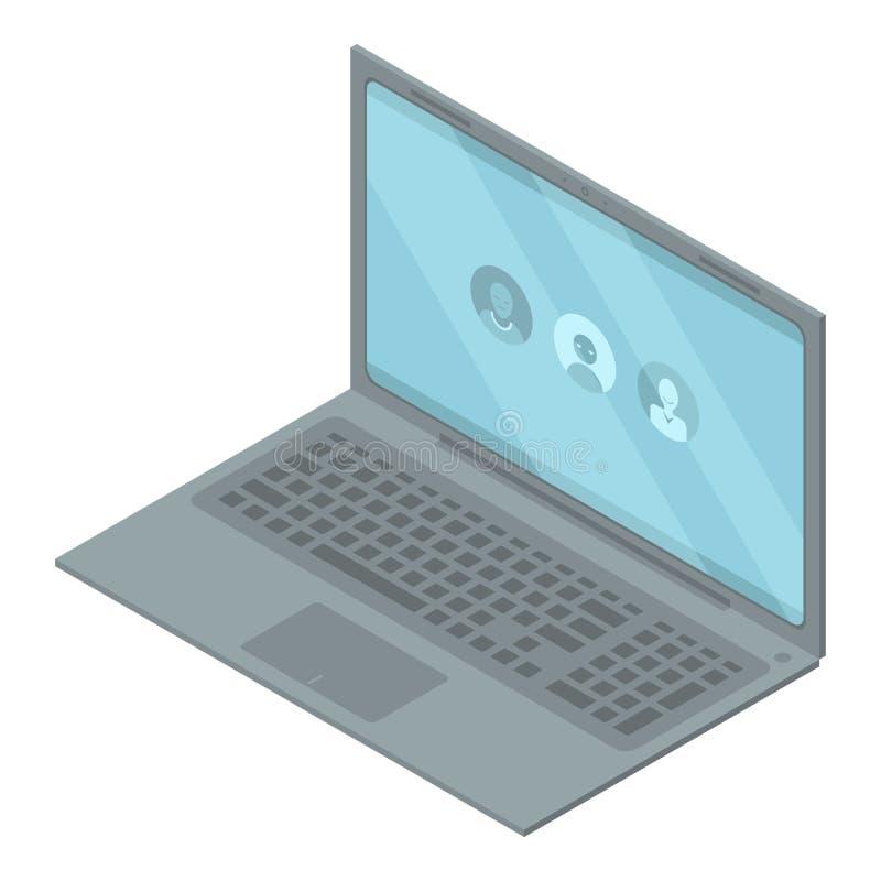 Bärbar datorchatbotsymbol, isometrisk stil stock illustrationer