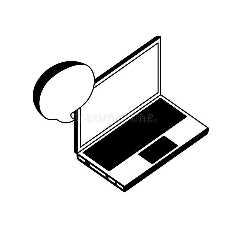 Bärbar datordator med den isometriska symbolen för anförandebubbla vektor illustrationer