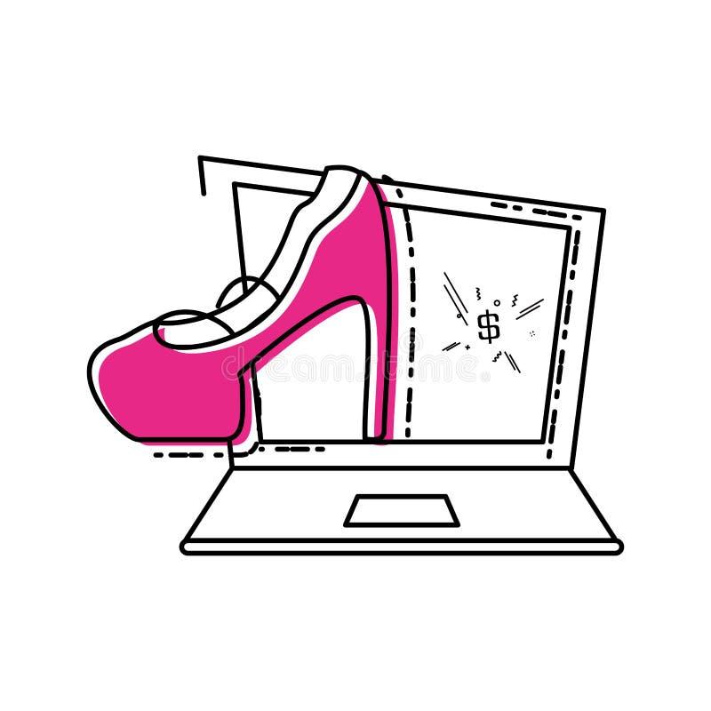 Bärbar datordator med hälskon av kvinnlign royaltyfri illustrationer