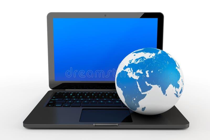 Bärbar datordator med jordjordklotet vektor illustrationer