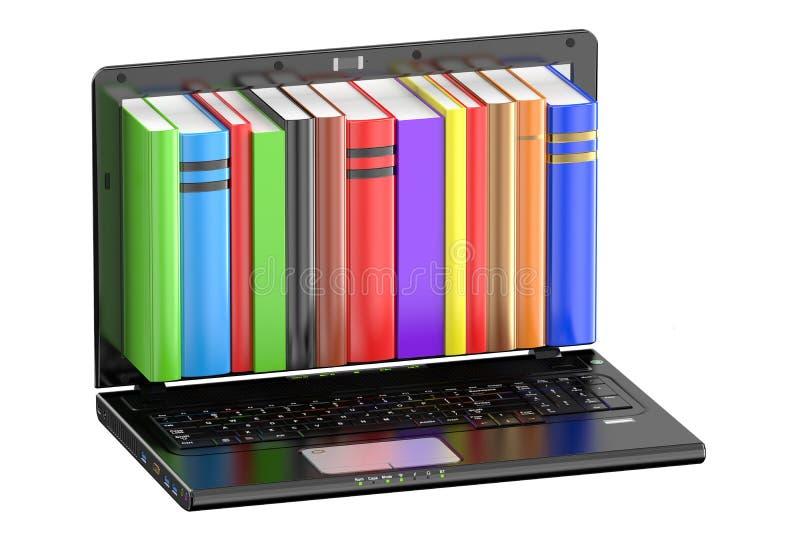 Bärbar datordator med kulöra böcker stock illustrationer