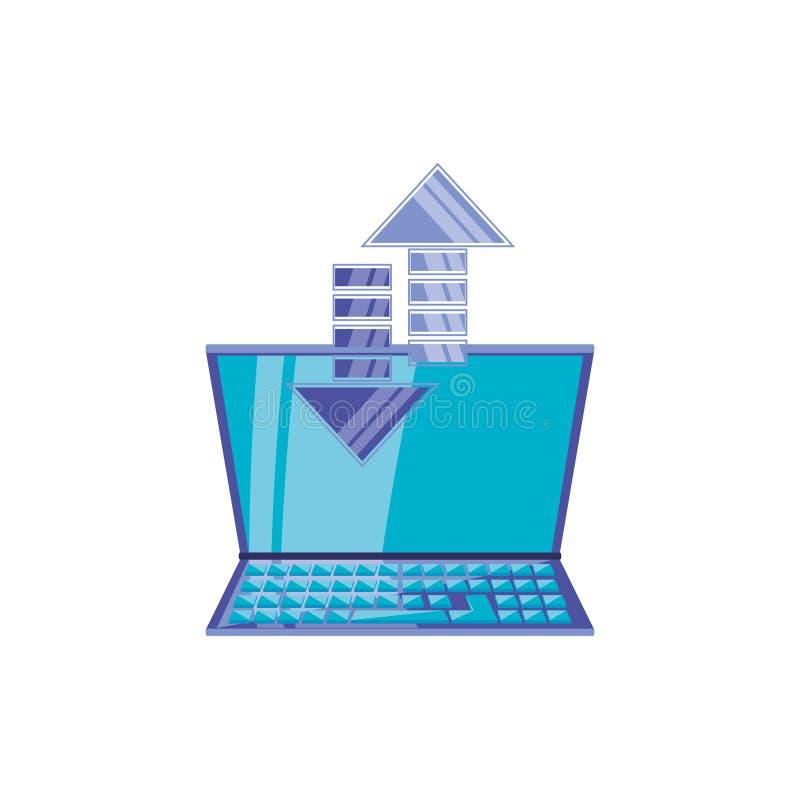 Bärbar datordator med pilsymbolen stock illustrationer