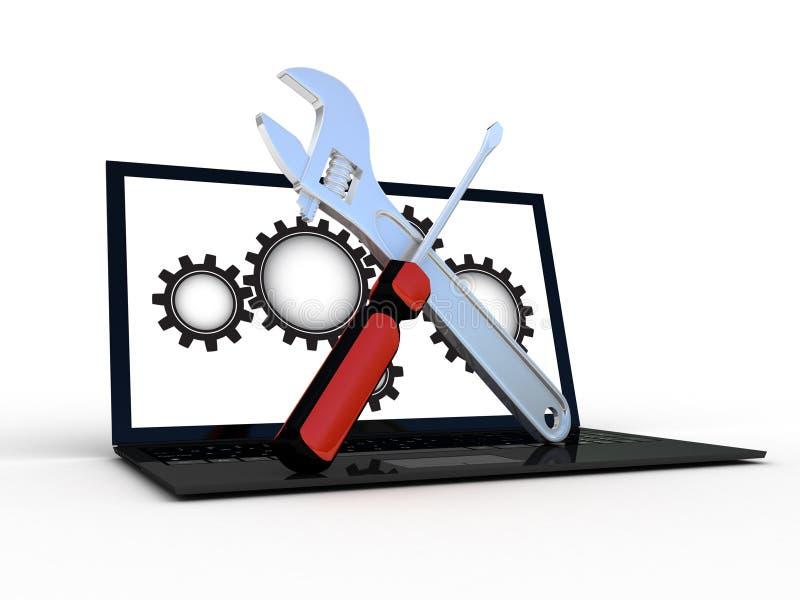 Bärbar datordator med skiftnyckeln royaltyfri illustrationer