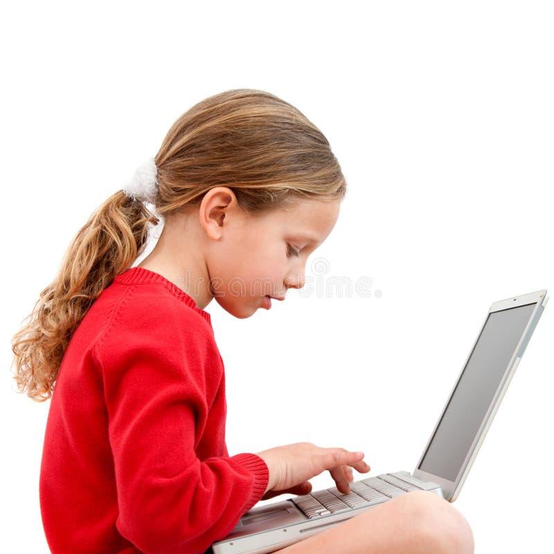 bärbar datordeltagarebarn royaltyfria foton